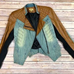 Beulah | Quilted Faux Leather Denim Jacket